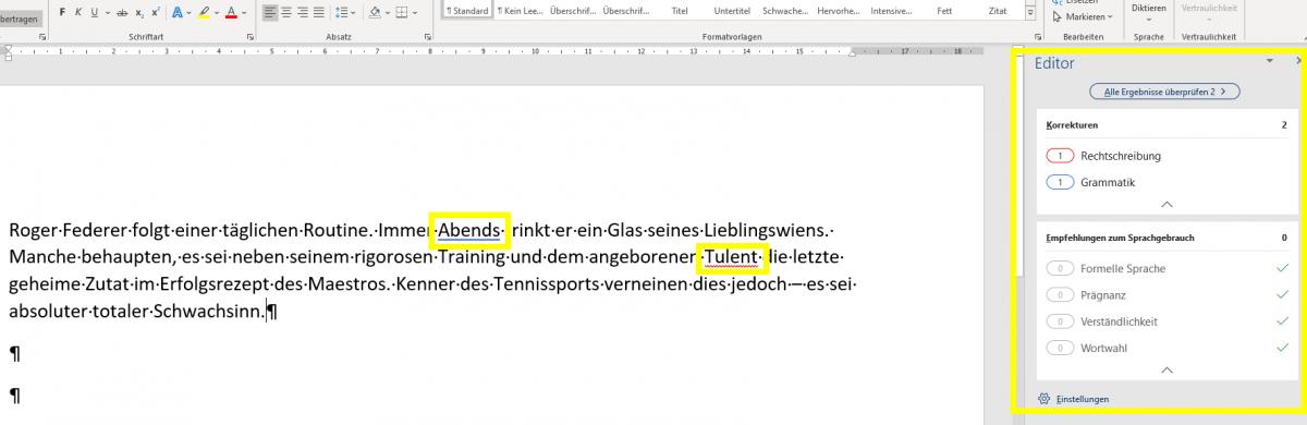 Korrekturen, Office 365