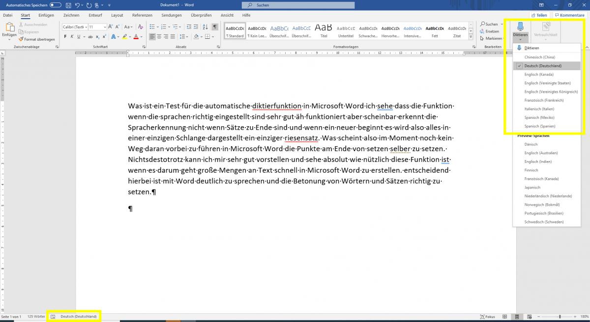Microsoft Word, Diktierfunktion, O365