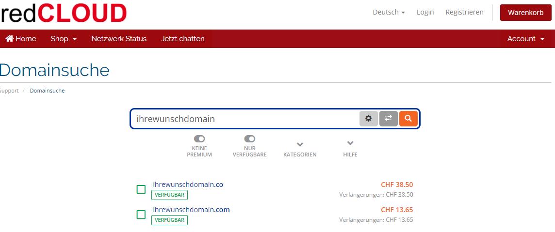 Domain-Checker, redCLOUD Domain registrieren, Wunschdomain