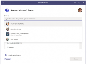 Share E-Mail in Teams